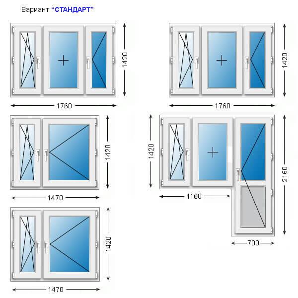 Существующие размеры пластиковых окон